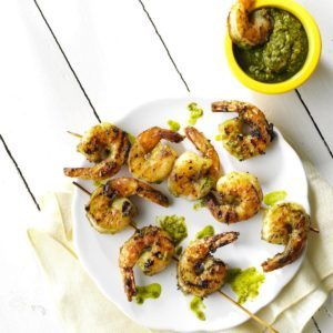 Grilled Pistachio-Lemon Pesto Shrimp