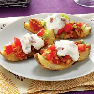 Grilled Potato Skins with Creamy Topping