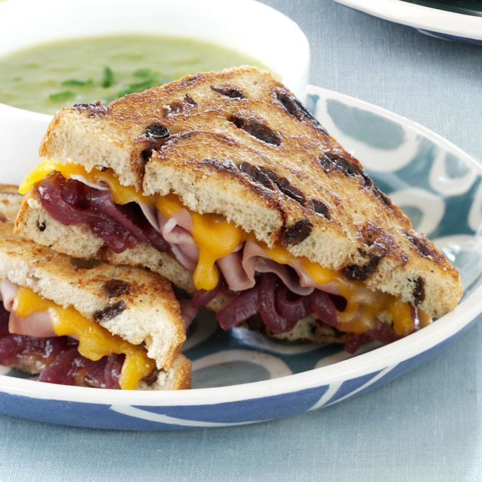 Grilled Prosciutto-Cheddar Sandwiches with Onion Jam
