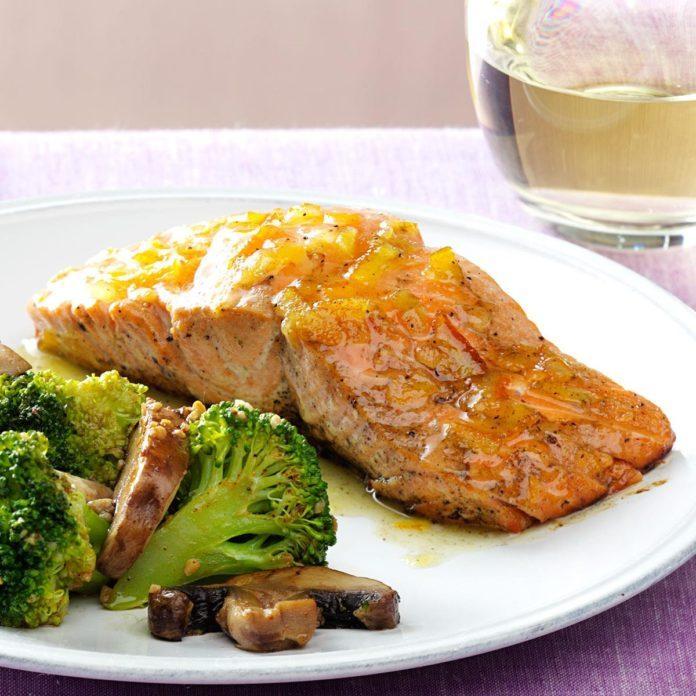 Grilled Salmon with Marmalade Dijon Glaze