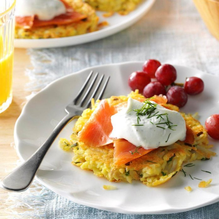 Hash Brown Pancakes with Smoked Salmon & Dill Cream