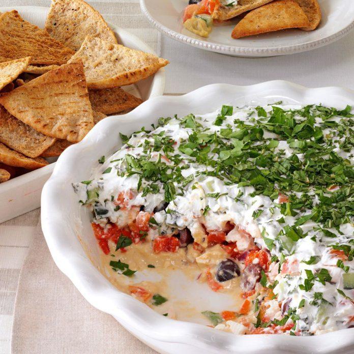 Layered Mediterranean Dip with Pita Chips