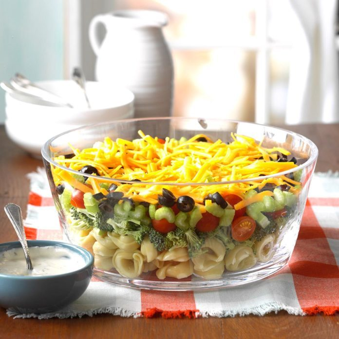 Layered Veggie Tortellini Salad