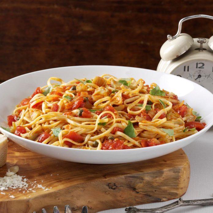 May 31: Linguine with Artichoke-Tomato Sauce