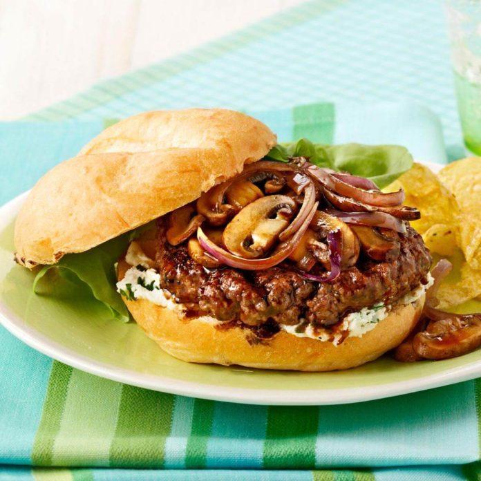 Mahogany-Glazed Mushroom Burgers