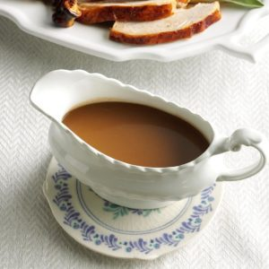 A gravy boat with make-ahead maple sage gravy