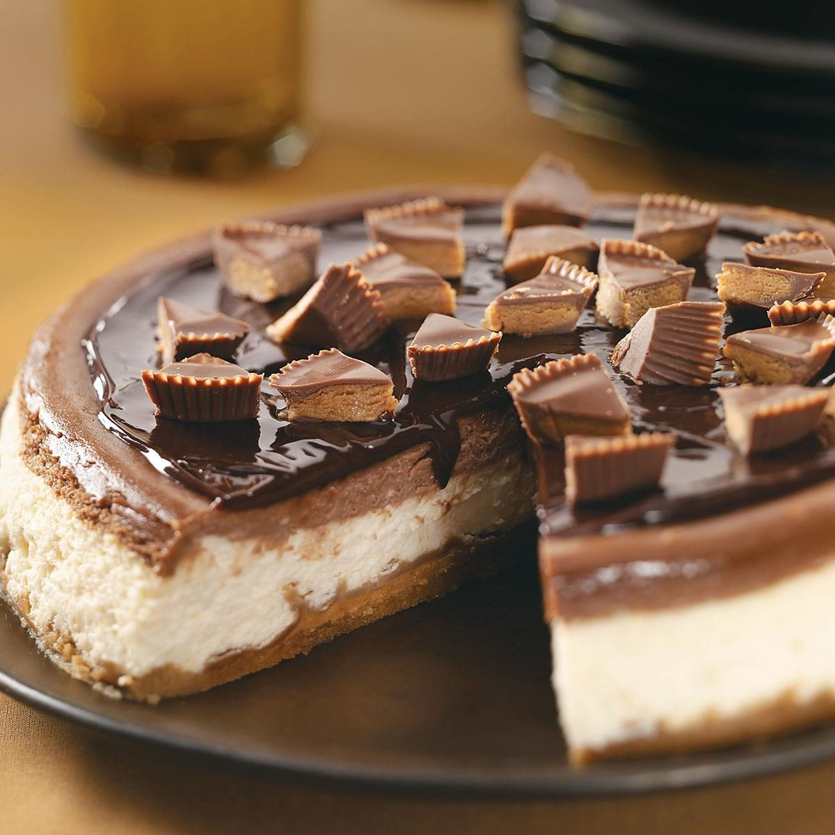 Makeover Peanut Butter Cup Cheesecake on a platter.