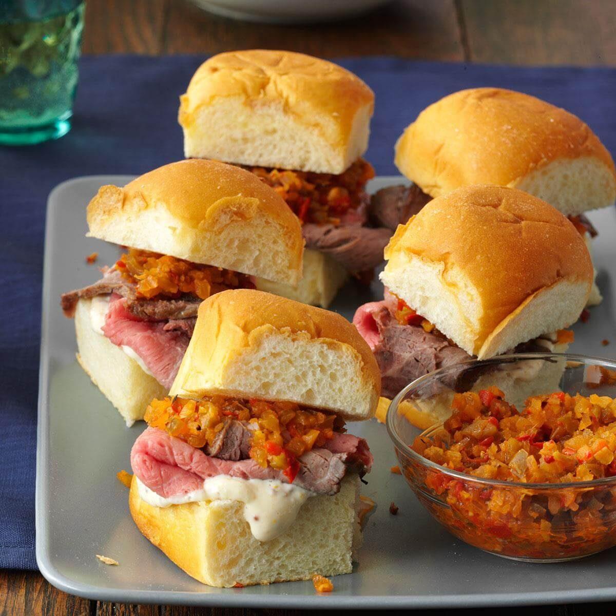 Mini Rosemary-Roast Beef Sandwiches