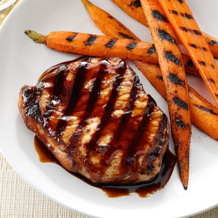Day 23: Grilled Pork Chops with Sticky Sweet Sauce