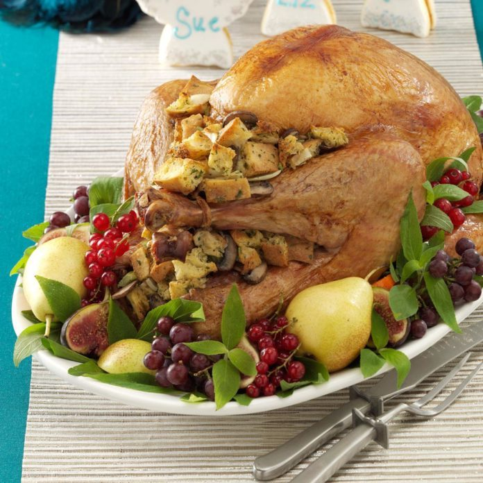 Mushroom-Onion Stuffed Turkey