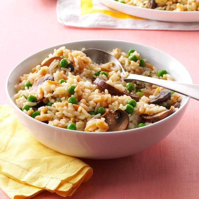 Mushrooms & Peas Rice Pilaf
