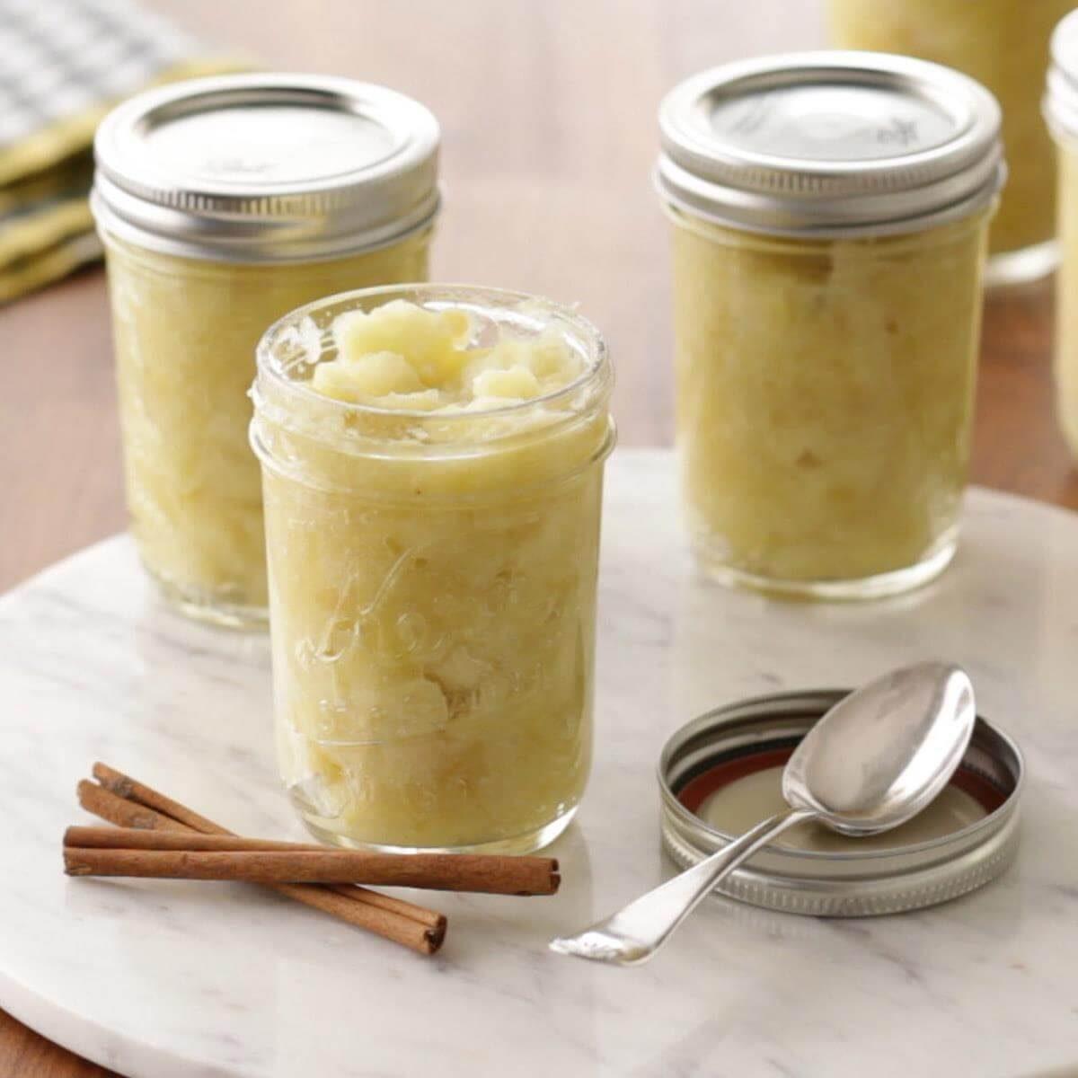 jars of apple sauce