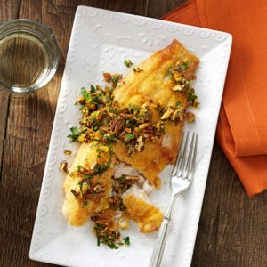 Pan-Fried Catfish with Spicy Pecan Gremolata