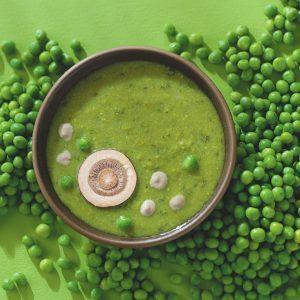 Pea Soup with Mushroom Cream Sauce