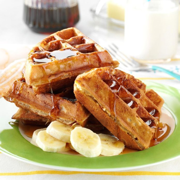 Peanut Butter and Banana Waffles