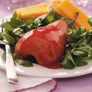 Poached Pears with Cheddar