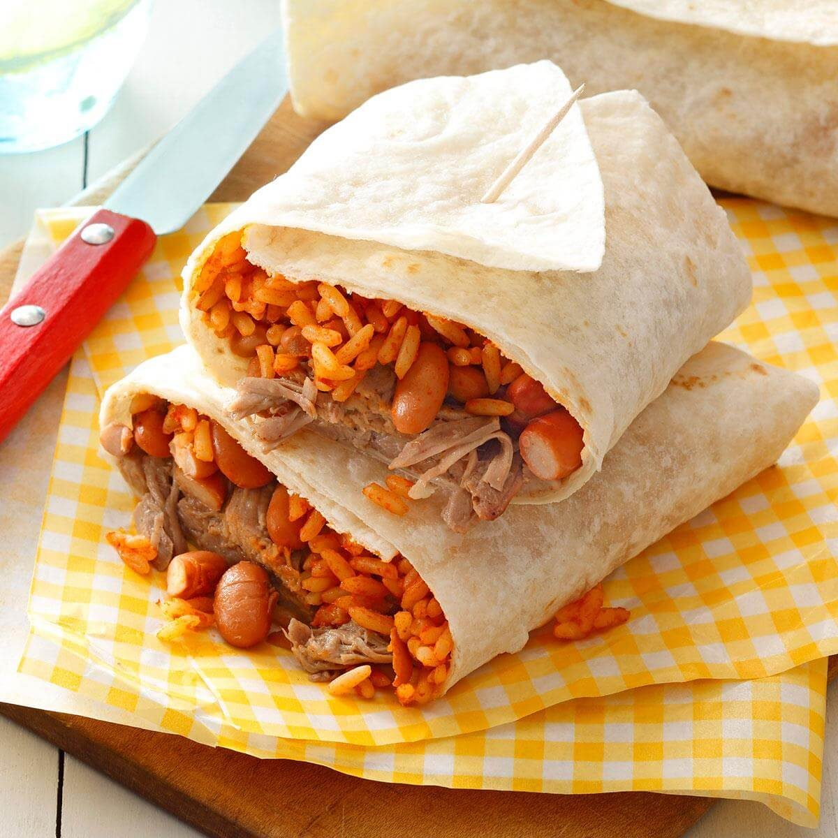 pork  bean  u0026 rice burritos recipe
