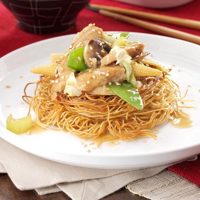 Pork Stir-Fry with Noodle Nests