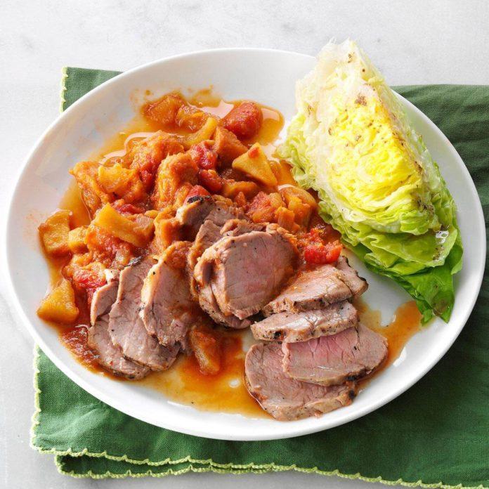 Pork Tenderloin with Sweet Potato Ragout