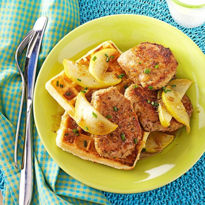 Pork and Waffles with Maple-Pear Topping