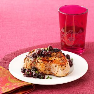 Pork with Blueberry Herb Sauce
