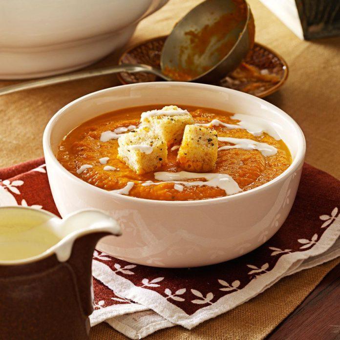 Pumpkin Soup with Sourdough Sage Croutons