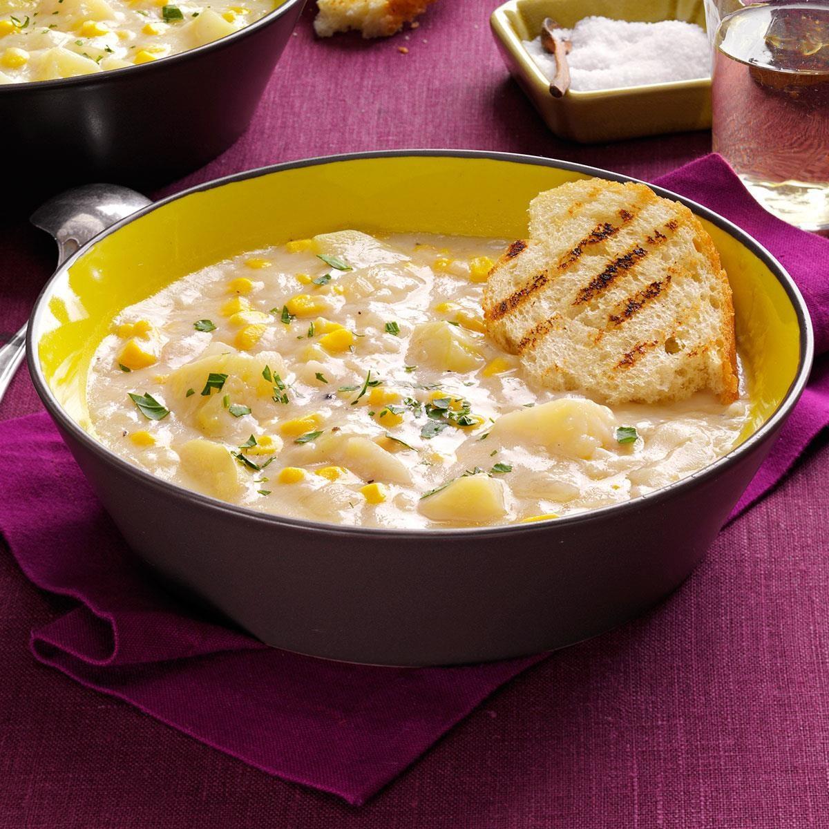 A bowl of Quick Potato Corn Chowder
