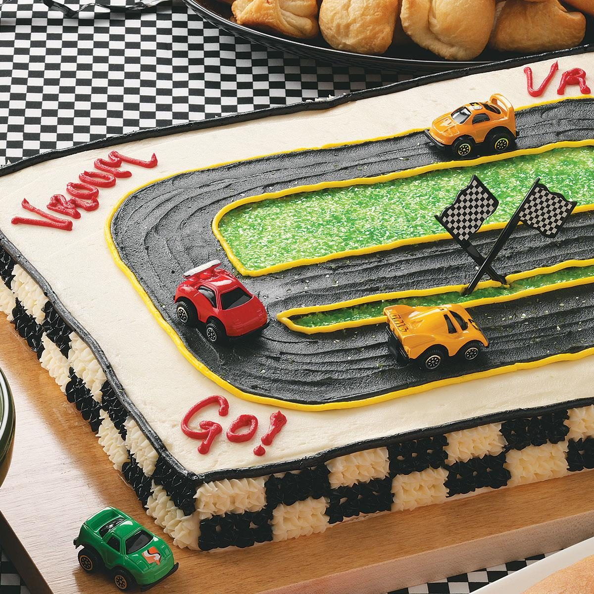 Fantastic Racetrack Cake Recipe Taste Of Home Funny Birthday Cards Online Aboleapandamsfinfo