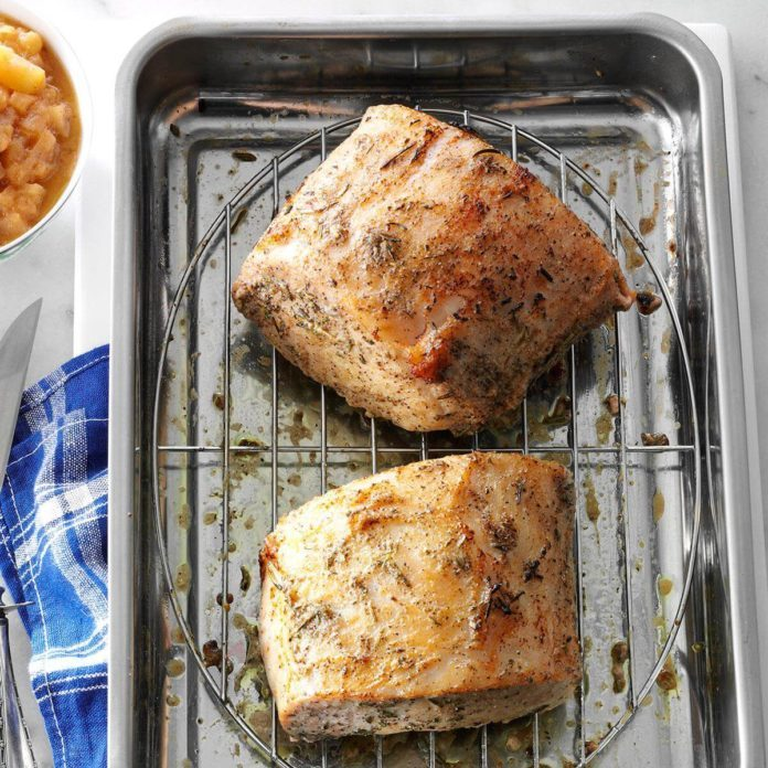 Roast Pork Loin with Rosemary Applesauce