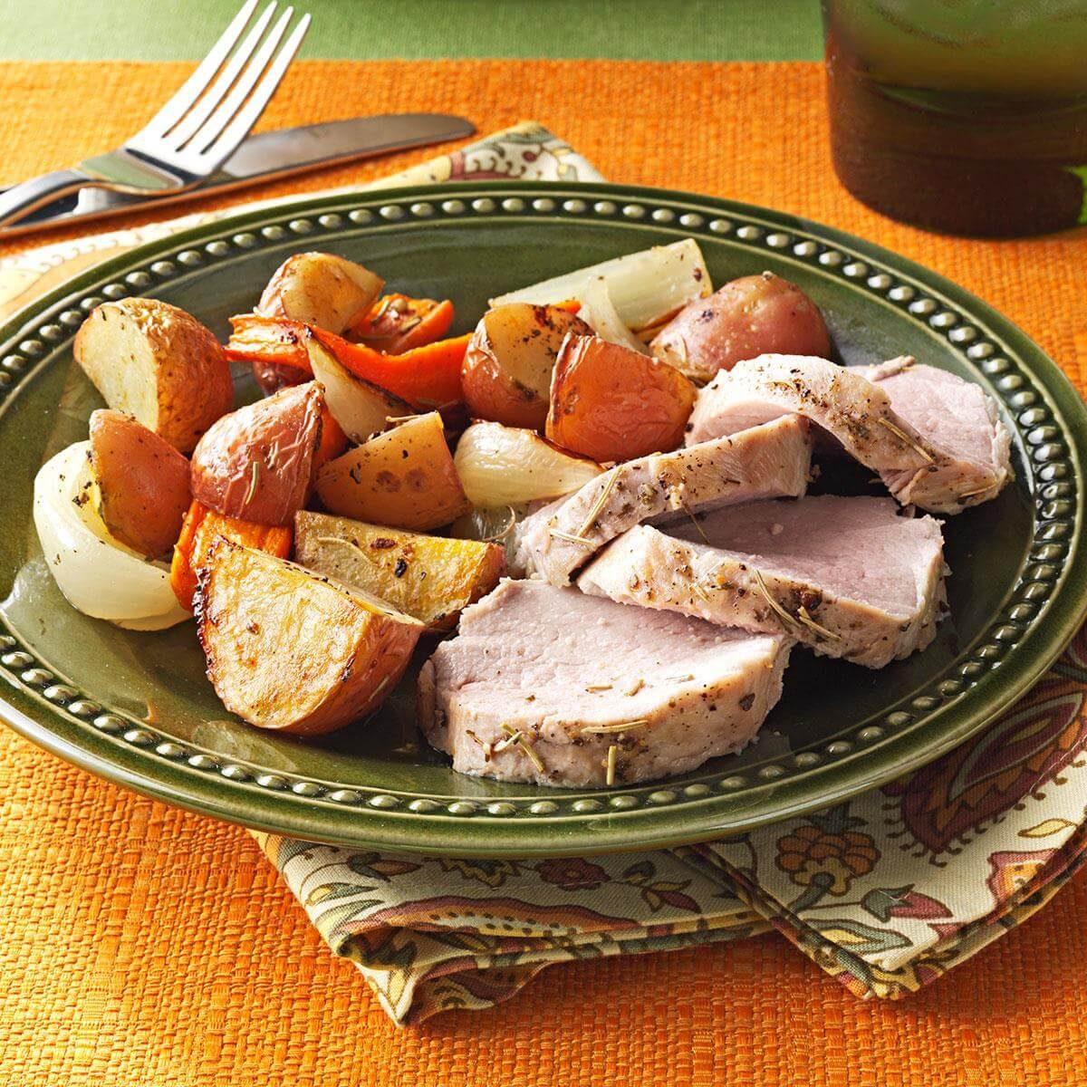 Roasted Pork Tenderloin And Vegetables Recipe
