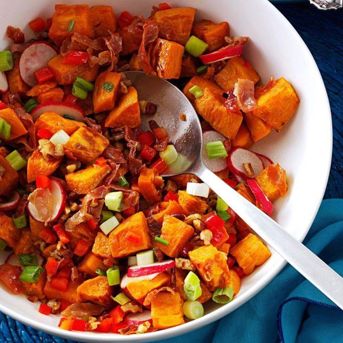 Non-Dairy Roasted Sweet Potato & Prosciutto Salad
