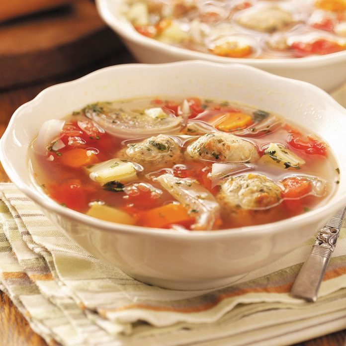 Roasted Veggie and Meatball Soup