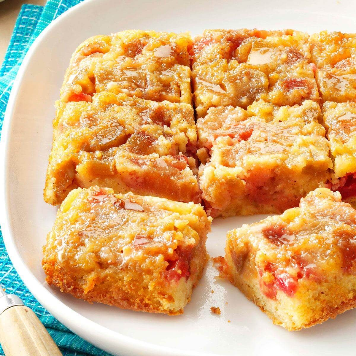 Rosy Rhubarb Upside Down Cake Recipe Taste Of Home