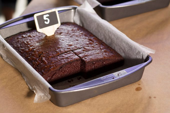 Pan of chocolate cake marked with the number 5