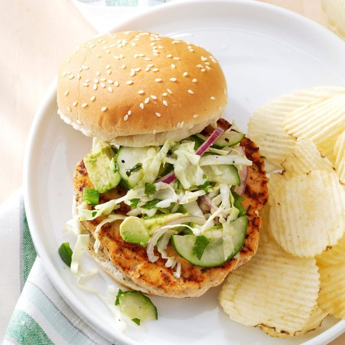 Salmon Burgers with Tangy Slaw