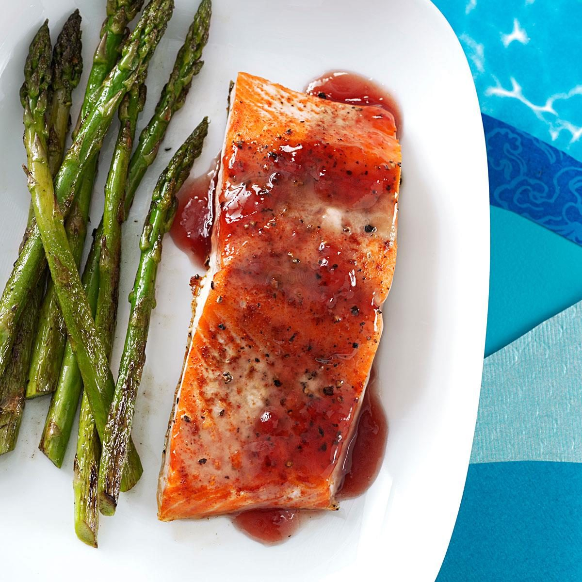 Sweet and Tangy Glazed Salmon with Orange-Almond Rice images