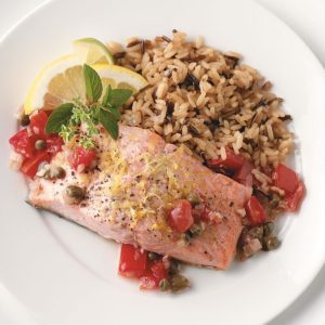 Special salmon steaks recipe taste of home salmon with tomato shallot sauce forumfinder Images