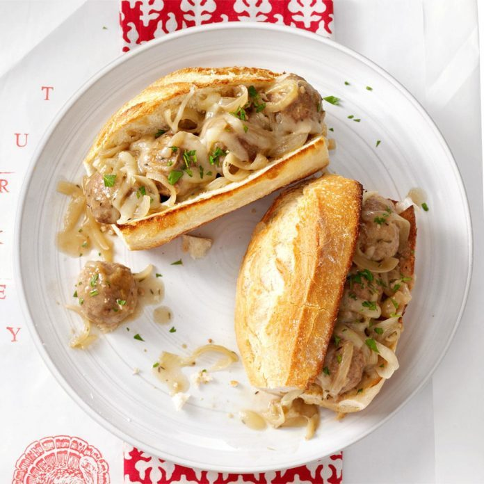 Saucy Onion Meatball Subs
