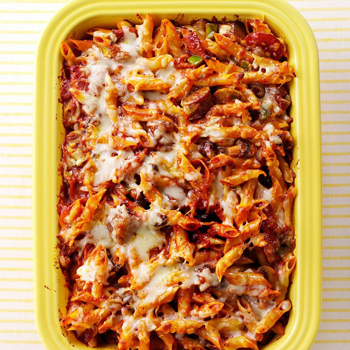 Sausage And Pepperoni Pizza Pasta Recipe Taste Of Home