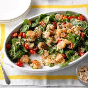 Shrimp Scampi Spinach Salad