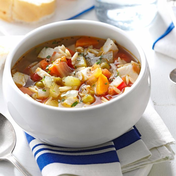 A bowl of Skinny Turkey Vegetable Soup