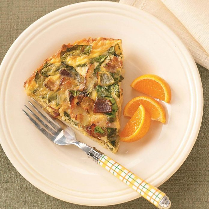 Spinach & Bacon Hash Brown Quiche