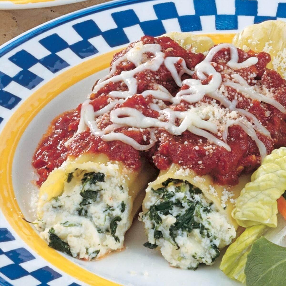Spinach Cheese Manicotti Recipe | Taste of Home