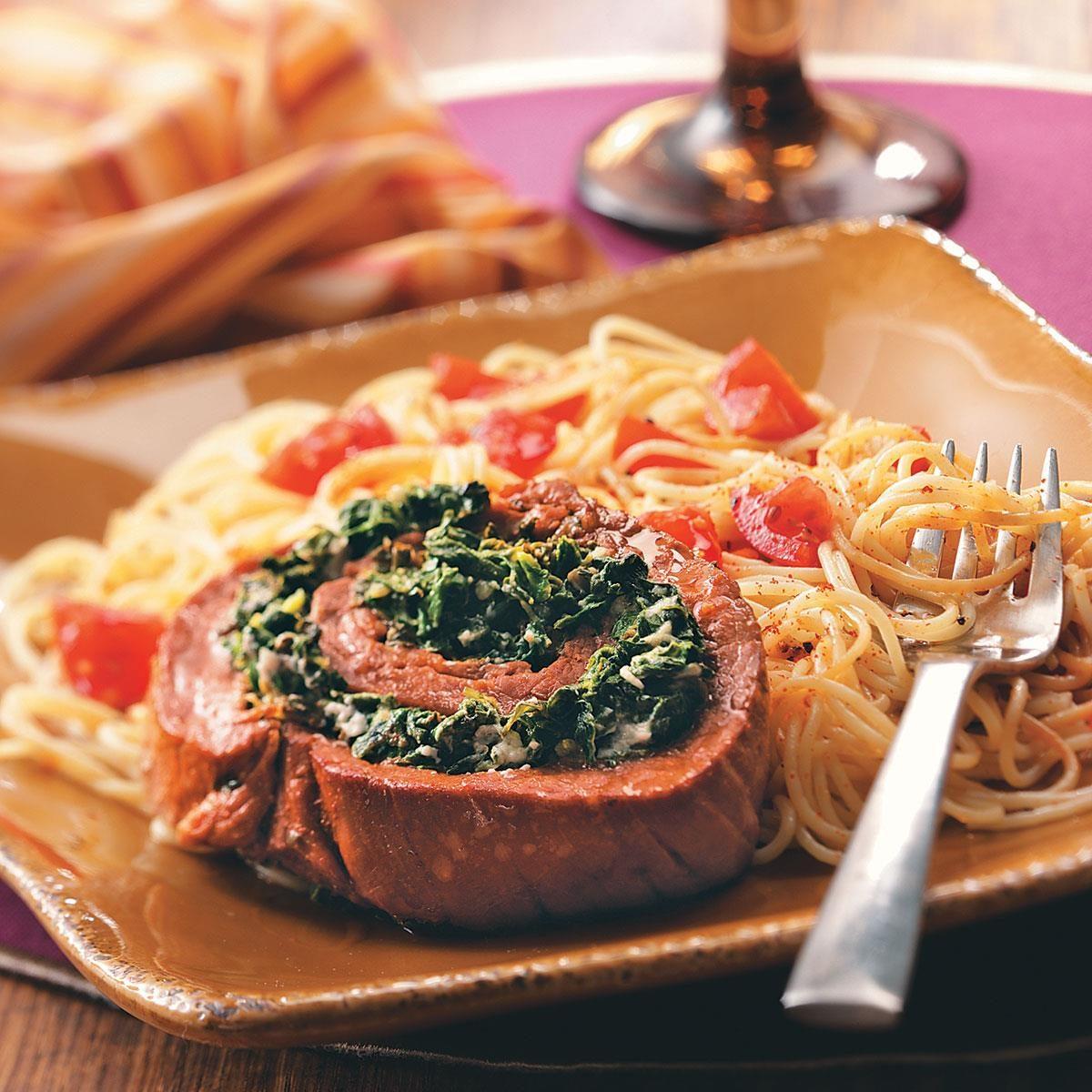 Spinach Flank Steak Pinwheels Recipe Taste Of Home