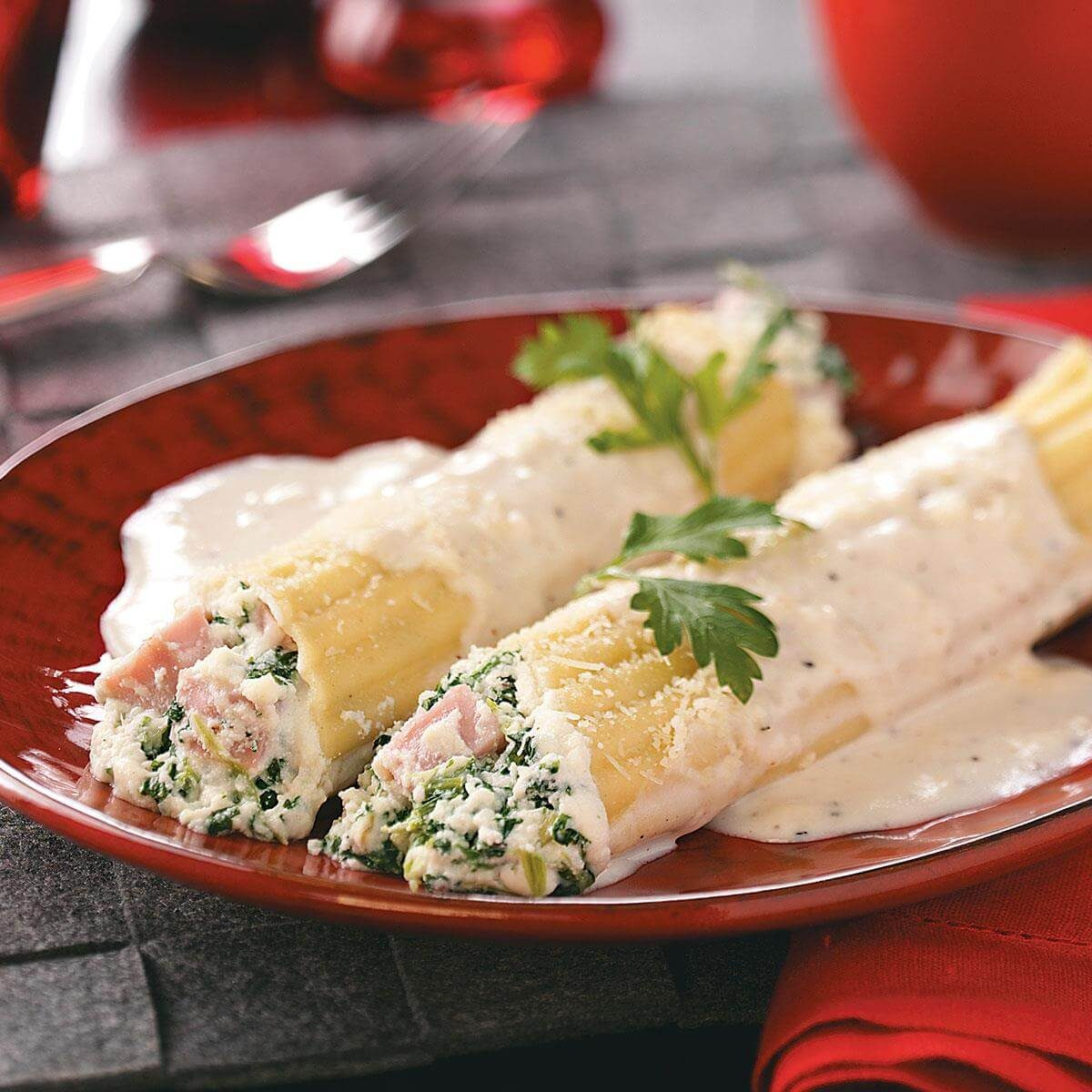 Spinach Manicotti with Ham Recipe | Taste of Home