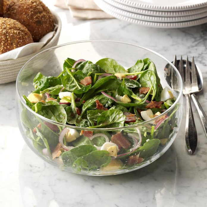 Spinach Salad with Warm Bacon Dressing