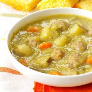 Split Pea Soup with Meatballs