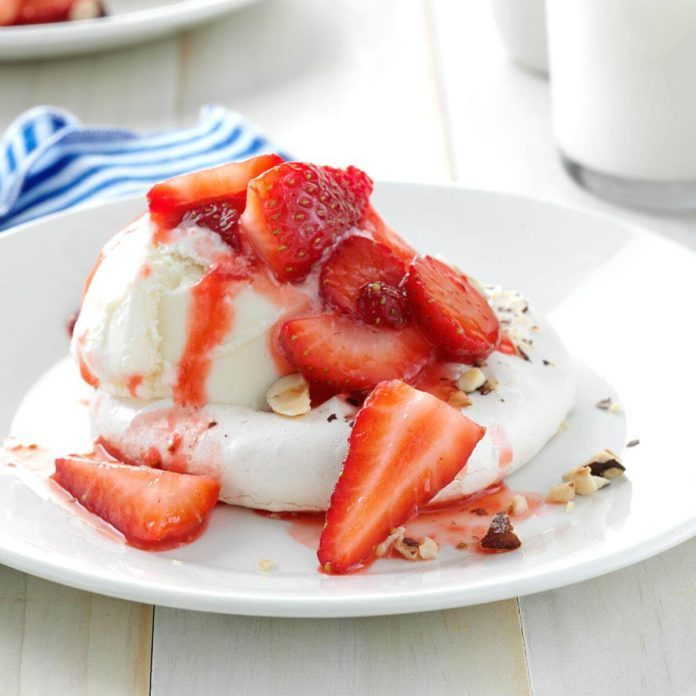 Strawberry Hazelnut Meringue Shortcakes