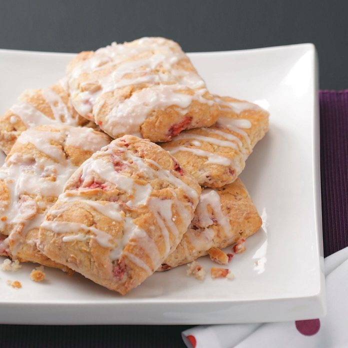 Strawberry Scones with Lemon Glaze