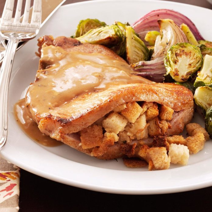 Stuffing-Stuffed Pork Chops